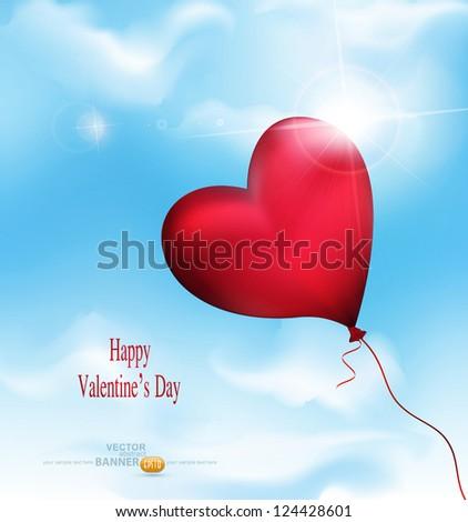 vector balloon-hearts flying in the sky - stock vector