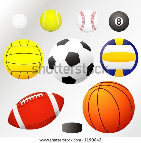 VECTOR! Balls collection -golf,tennis,baseball, billiard,water polo, soccer,volleyball, football... - stock vector