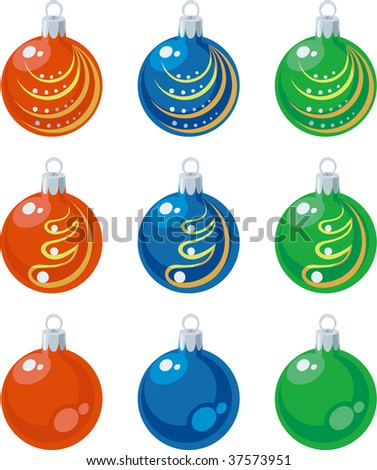 Vector. Balls xmas set color 01