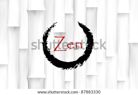 Vector Bamboo Background with Zen Circle Symbol - stock vector