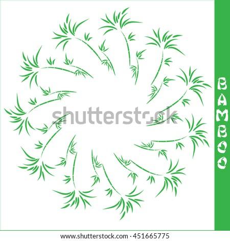 Vector bamboo circular frame on white background - stock vector