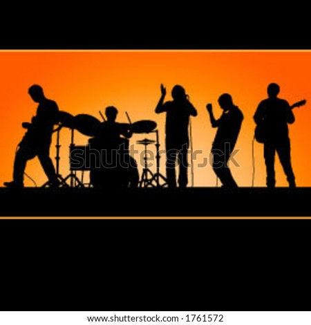 Vector band, great for posters!  Each member is grouped with his instrument and is easy to edit/move. - stock vector
