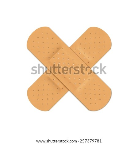 Vector Bandage Plaster Aid Band Medical Adhesive Set Isolated on White Background
