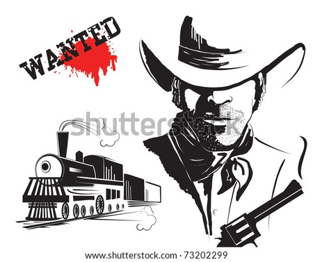 Vector bandit and locomotive. Western poster - stock vector