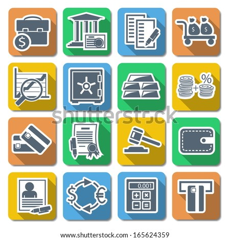 Vector Bank Flat Icons - stock vector