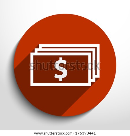 Vector banknotes with dollar sign icon.  - stock vector