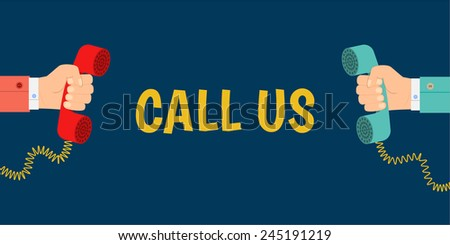 vector banner call us, a hand holding a phone, hand holding a telephone receiver, flat design - stock vector