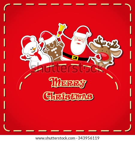 Vector banner: cute figurines Santa Claus, snowman, deer, gingerbread man in jeans pocket and hand drawn text Merry Christmas  - stock vector