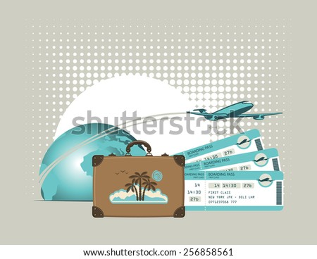 vector banner for air travel with an airplane planet suitcase and plane tickets - stock vector