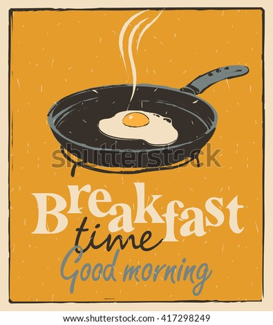 Vector banner for breakfast time with a frying pan and fried eggs in retro style - stock vector