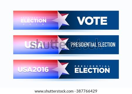 Vector banner for presidential election 2016. - stock vector