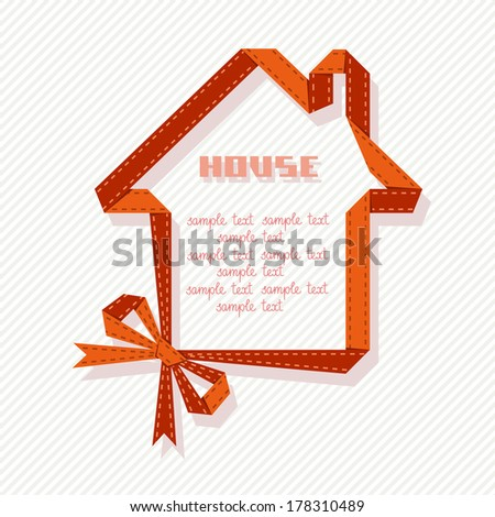 Vector banner in shape of house with red paper ribbon and bow. Abstract sign real estate for sale. Simple illustration for print, web - stock vector