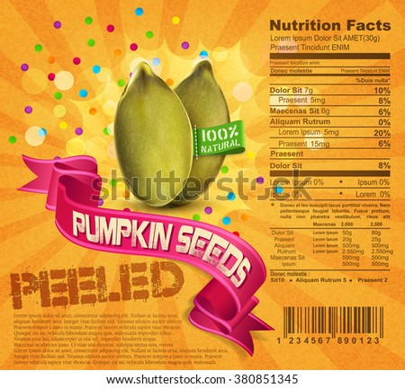 vector banner label (element for design), pumpkin seeds on an orange background with ribbon - stock vector