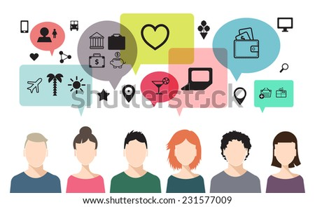 vector banner of speaking people, chat, teem work, social net - stock vector