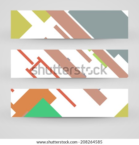 Vector banner set for your design, vintage abstract Illustration.
