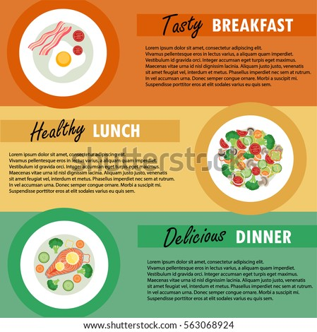 vector banner template breakfast lunch dinner diet menu