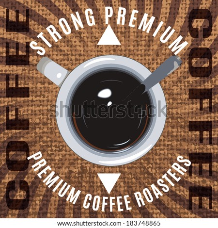 Vector banner with a coffee cup and spoon - stock vector