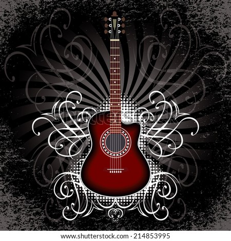 vector banner with acoustic guitar on black background - stock vector