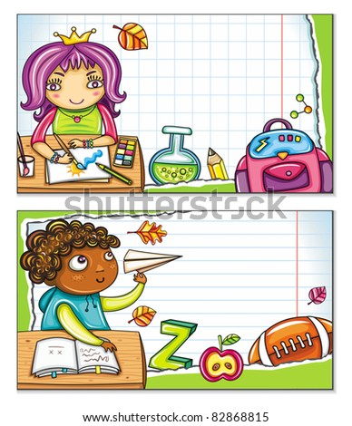 Vector banner with cute children sitting at the desks and school design elements. Copybook background, space for your text - stock vector