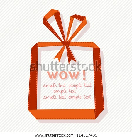 Vector banner with gift box made from red paper ribbon. Origami modern simple background with text box for presentation. Original greeting, invitation card Valentines Day, Christmas, wedding, birthday - stock vector
