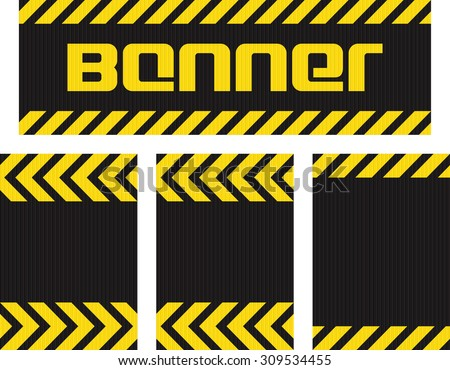 Vector banner with horizontal yellow and black lines on the corrugated metal surface black and three seamless horizontal same metallic background