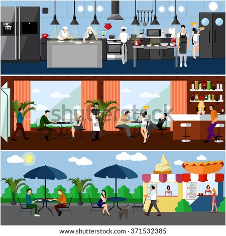 Vector banner with restaurant interiors. Kitchen, dining room and street cafe. Vector illustration in flat design.  - stock vector