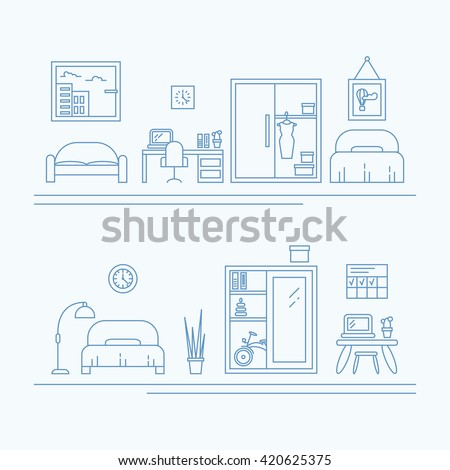 Vector Banner With Thin Line Icons Interior Decoration Elements Living Room Furniture And