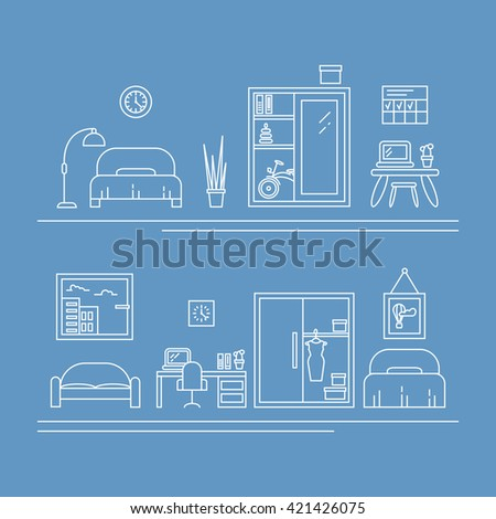 Vector banner with thin line icons. Interior decoration elements, living room, furniture and decor for apartment. Children room and women room concepts with bed, work place, wardrobe, sofa.  - stock vector
