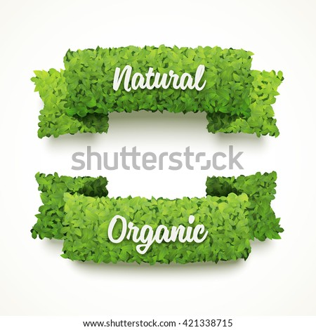 Vector banners made of green leaves. Natural and organic banner templates. Ecology banner design. Set of two banners. - stock vector