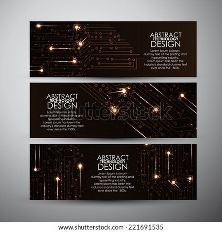 Vector banners set with Abstract orange lights technology background - stock vector