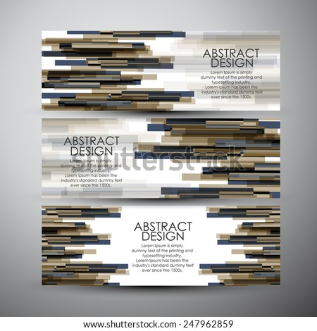 Vector banners set with colorful rectangle shapes  - stock vector