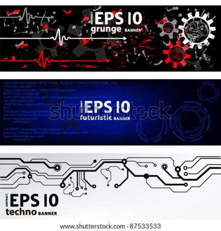 vector banners. techno. medical. futuristic - stock vector
