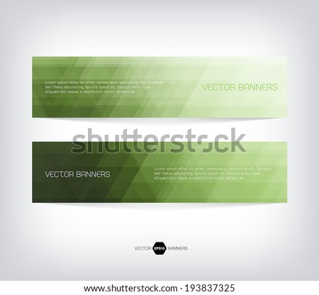 Vector banners with abstract light green background. Subtle geometric texture - stock vector