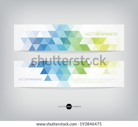 Vector banners with abstract multicolored polygonal mosaic background. Modern geometric triangular pattern. Business design template. Blue green and yellow colors - stock vector