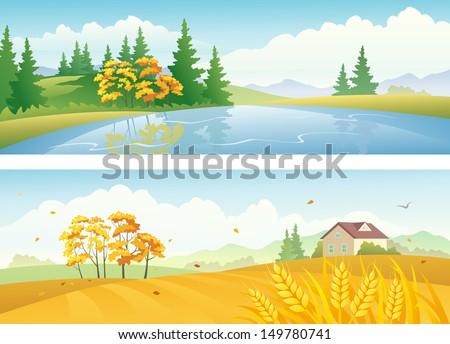 Vector banners with beautiful fall nature landscapes with woods and fields - stock vector