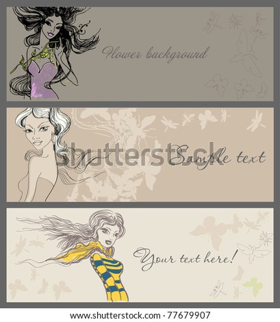 Vector banners with beautiful girls - stock vector