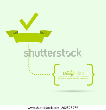 Vector banners with check marks confirmation, acceptance positive passed voting agreement true. Banner of the ribbon. brackets with text - stock vector