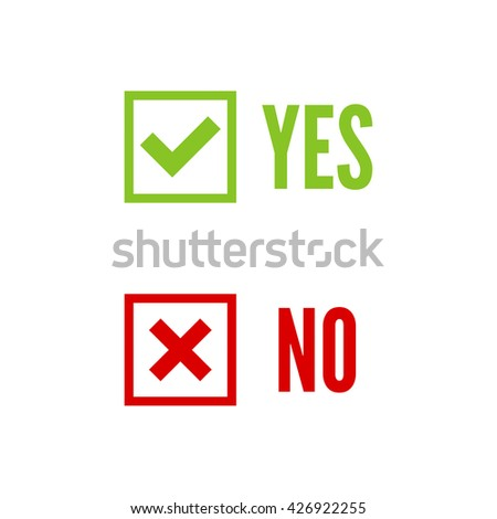 Vector banners with check marks confirmation, acceptance positive passed voting agreement true and form of access denial, refusing, yes, no, checkbox, box - stock vector