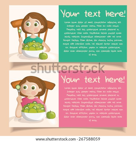 Vector banners with fat and slim girls eating salad diet concept - stock vector
