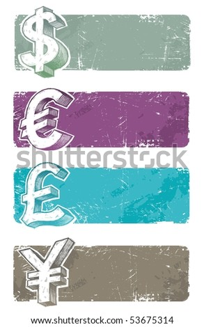 Vector banners with hand drawn currency signs - stock vector