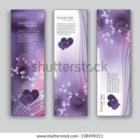 Vector Banners With Hearts. Set of Three. Abstract Backgrounds in Eps10 Format. - stock vector