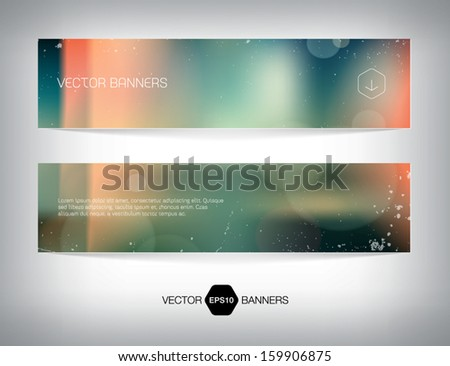 Vector banners with retro blurry soft photographic bokeh background. Smooth unfocused film effect. Soft shades, light leaks, cross process effect, light grungy texture. - stock vector