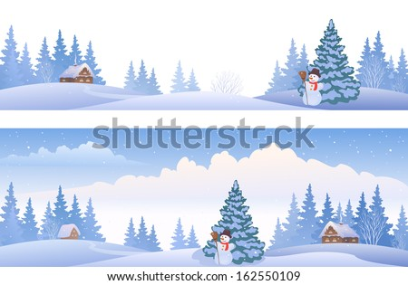Vector banners with winter panoramic landscapes - stock vector