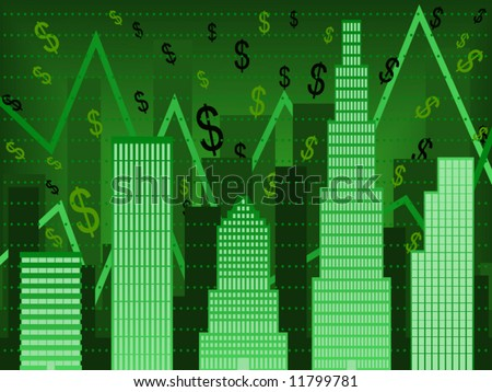 Vector Bar chart composed of stylized buildings implying financial boom