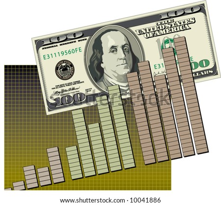 Vector bar graph with a 100 dollar bill - stock vector