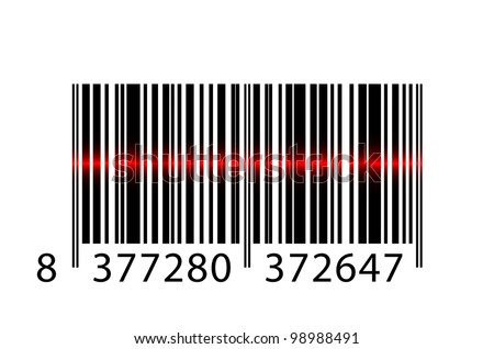Vector barcode with laser beam - stock vector