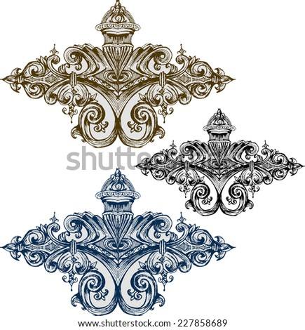 Vector baroque ornament in Victorian style. - stock vector
