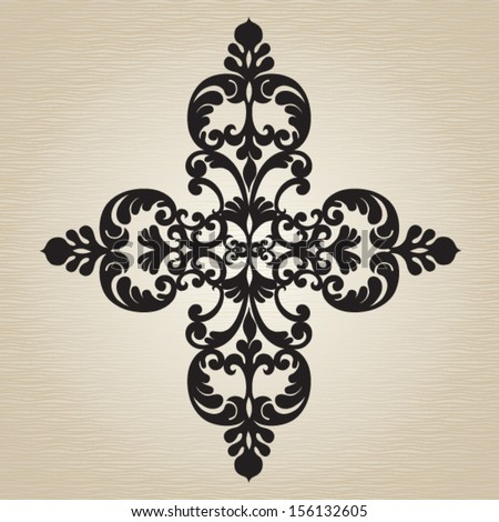 Vector baroque ornament in Victorian style. Element for design. It can be used for decorating of invitations, greeting cards, decoration for bags and clothes, at tattoo creation. - stock vector