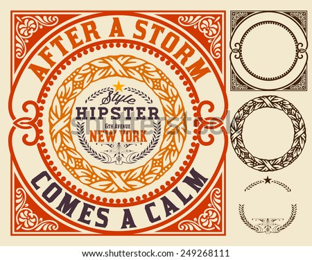 Vector. Baroque ornaments and floral details, Hipster card. - stock vector