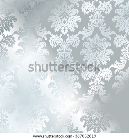 Vector baroque seamless damask silver texture. Luxury gray floral pattern for wrapping paper, background or wallpaper. - stock vector